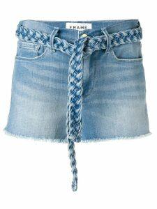 FRAME braided belt jean shorts - Blue