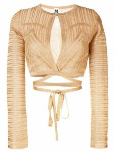 M Missoni patterned tie waist cardigan - Gold