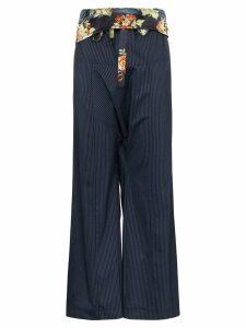 Paco Rabanne floral belt pinstripe trousers - Blue