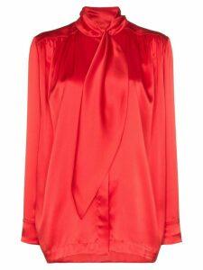 Matériel tie-neck blouse - Red