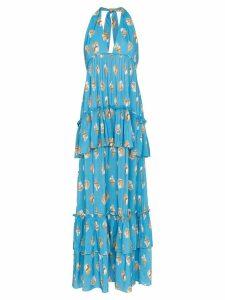 Adriana Degreas Conchiglie ruffled maxi-dress - Blue