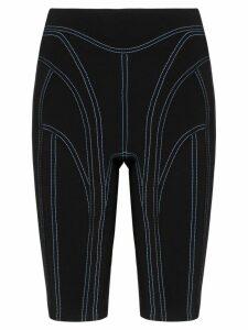 Mugler contrast stitch cycling shorts - Black