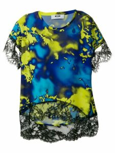 MSGM patterned lace top - Blue