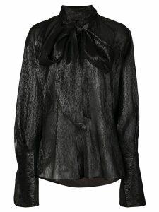 Petar Petrov sheer pussy bow blouse - Black