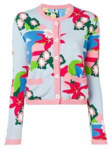 Thom Browne Floral Intarsia Cardigan Jacket - Blue