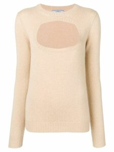 Prada cashmere cut out detailed sweater - NEUTRALS