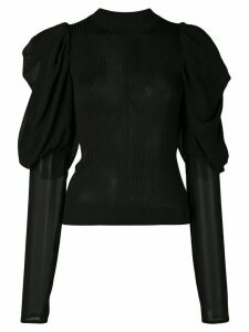 Vera Wang panelled ribbed-knit jumper - Black