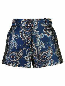 Vera Wang baroque embroidered shorts - Blue
