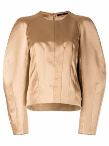 Haider Ackermann darted round sleeve top - Brown