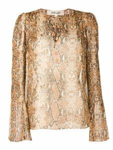 Diane von Furstenberg snakeskin print blouse - Brown