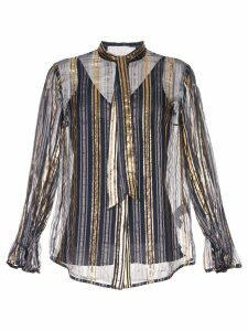Peter Pilotto metallic striped blouse - Blue