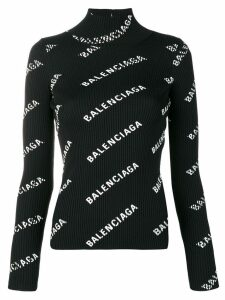 Balenciaga alllover logo open back sweater - Black