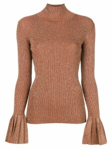 Carven flared cuff knitted top - NEUTRALS