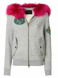 Mr & Mrs Italy fur trim zipped hoodie - Grey