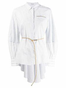 Brunello Cucinelli belted striped shirt - White