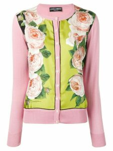 Dolce & Gabbana rose printed panel cardigan - PINK