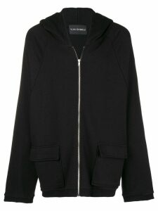Yuiki Shimoji flower print oversized zipped hoodie - Black