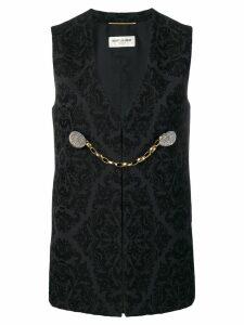 Saint Laurent baroque print waistcoat jacket - Black