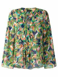 Saloni printed v-neck blouse - Green
