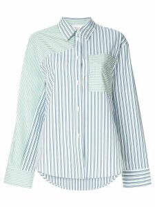 PortsPURE striped print panelled shirt - White