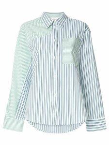 PortsPURE striped print panelled shirt - White