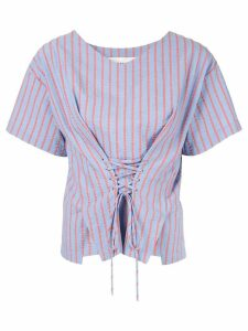 PortsPURE striped lace-up top - Blue