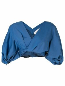 PortsPURE wrap cropped blouse - Blue