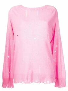 Maison Flaneur distressed round neck jumper - Pink