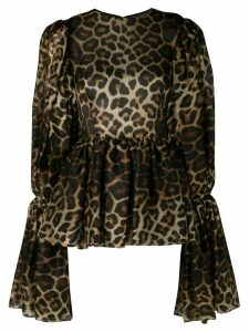 Christian Siriano leopard print bell sleeve blouse - Brown