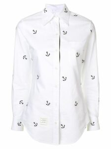 Thom Browne Anchor Embroidery Oxford Shirt - White