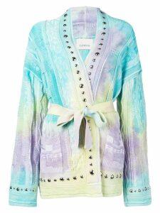 Laneus belted knit cardigan - Blue