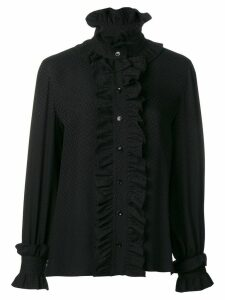 Saint Laurent frilly neck blouse - Black