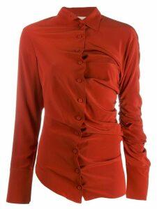 Erika Cavallini asymmetric draped shirt - Red
