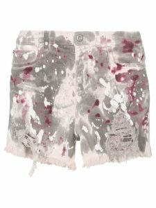 Faith Connexion paint-splattered denim shorts - MULTICOLOURED