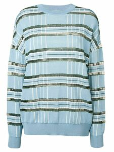 Christian Wijnants striped sheer panelled jumper - Blue