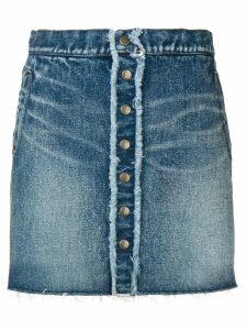 Saint Laurent frayed detail denim mini skirt - Blue