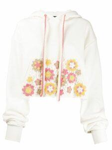 Alanui crochet detail hoodie - NEUTRALS