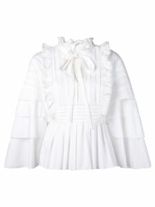 Self-Portrait ruffled peplum blouse - White