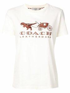 Coach embroidered logo T-shirt - NEUTRALS