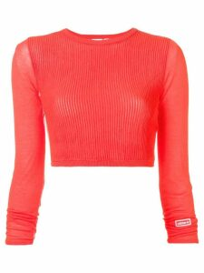 Adidas cropped ribbed knit jumper - Pink