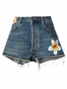 Alanui flower patch denim shorts - Blue
