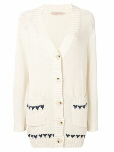 Twin-Set embroidered butterfly cardigan - NEUTRALS