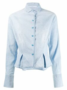 Ermanno Scervino pleated hem denim shirt - Blue