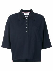 Thom Browne Piqué Cotton Oversized Pocket Polo - Blue