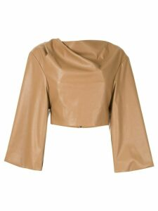 Bianca Spender Leatherette Aria top - Brown