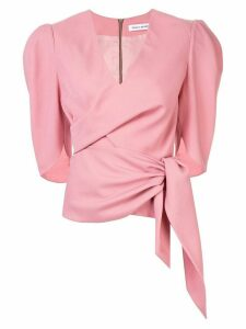 Bianca Spender Sloane front-tie blouse - PINK