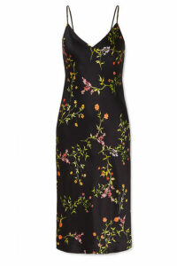 L'Agence - Jodie Floral-print Silk Crepe De Chine Dress - Black