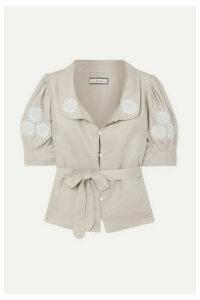 Innika Choo - Anya Embroidered Linen Top - Gray