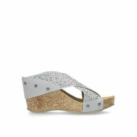 Carvela Comfort Sully - Grey Cross Strap Wedge Heels