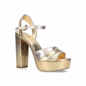Michael Michael Kors Harper Platform - Gold Snakeskin Platform Heeled Sandals
